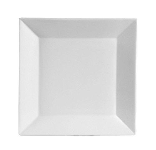 10.5 Inch Porcelain Square Dinner Plates - 6 Packs, White