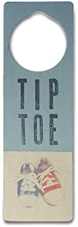 Tree By Kerri Lee Wooden Doorknob Sign Tiptoe, Blue