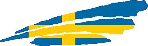 INDIGOS UG - Pegatina - para Coche - JDM - Die Cut - Coche - Bandera Suecia - Suecia - 3 Rayas - 800x200 mm - para Ventana Trasera Barco Coche Tuning camión