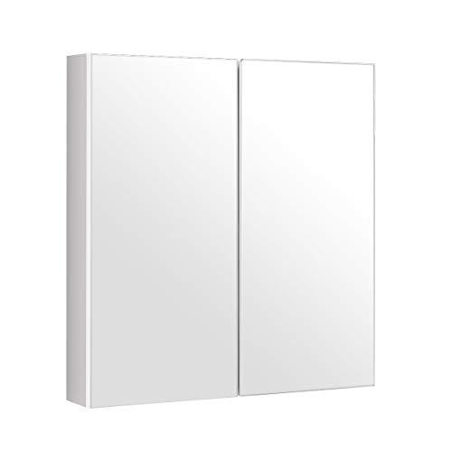 GOPLUS Spiegelschrank aus Holz, Badezimmerschrank mit 2 Türen, Hängeschrank Badezimmer, Wandschrank mit Spiegel, Badezimmerspiegelschrank 620x113x650mm