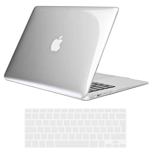 TECOOL MacBook Air 13 inch Case 2010-2017 (Model: A1466 / A1369), Slim Plastic Shell Protective Hard Case with Transparent Keyboard Cover for MacBook Air 13.3 - Crystal Clear
