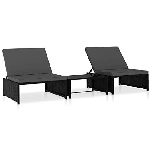 vidaXL 2X Tumbonas con Mesita Sofá Exterior Terraza Mueble Reclinable de Tomar el Sol Café Sillón Tumbona de Patio Balcón Ratán sintético Negro