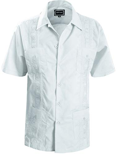Guytalk Men's Guayabera Embroidered Classic Cuban Wedding Shirts Large White