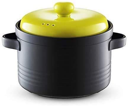 YUEZPKF Práctico Cazuela de cazuela 5L Cazuela de cerámica, Olla de estofado Pote Caliente con Tapa de Utensilios de Cocina, cazuela Resistente al Impacto con Mango Doble (Color: Verde, tamaño: 5L)