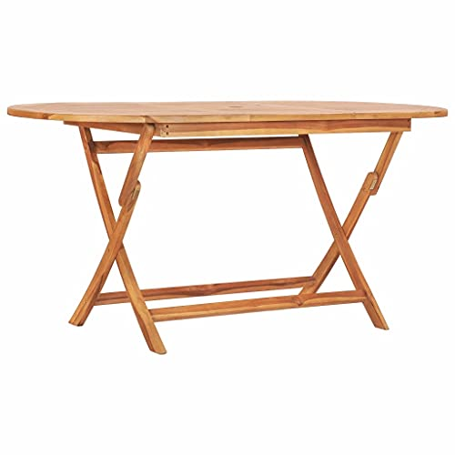 vidaXL Solid Teak Wood Folding Garden Table Durable Stable Weather Resistant Outdoor Foldable Wooden Tables Furniture 160x80x75cm