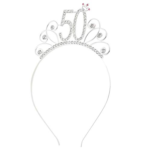 Amosfun 50th Birthday Tiara Headband Crystal Rhinestone Women 50th Birthday Crown for Birthday Party Hair Accessory Silver