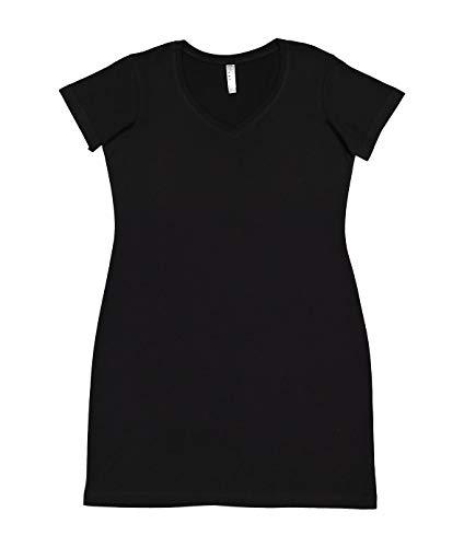 LAT Ladies' 100% Cotton Jersey Short Sleeve V-Neck Swim Cover-up Dress (Black, Large/Xtra Large)
