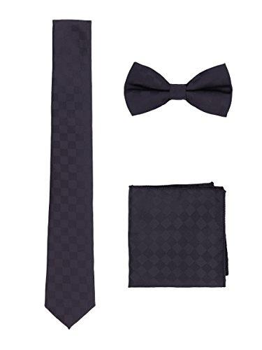 WANYING Uomo Gentleman Papillon Cravatta Fazzoletto 3 in 1 Set - Papillon Classico 6 * 12 cm & Cravatta Stretta 6 cm & Fazzoletto da Taschino - Nero