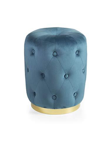 MONTEMAGGI Pouf Trapuntato cilindrico in Velluto Base Dorata Stile Glam Blu 36X36X47 cm