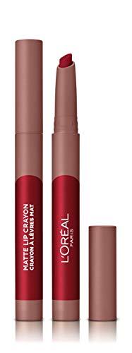 L'Oreal Paris Make-up Designer - Pintalabios Matte Crayón 113 Brulee Ever permanente, rojo vino - 22 ml
