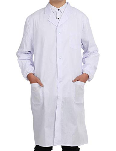Pinkpum Lab Coat Professional Uniforms, Unisex White (L)