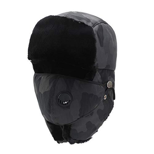 OSL Su Sombrero Feng, aretes de Invierno de Invierno y aretes engrosados en Invierno a Corte al Aire Libre, Ciclismo frío,Gris,codificado