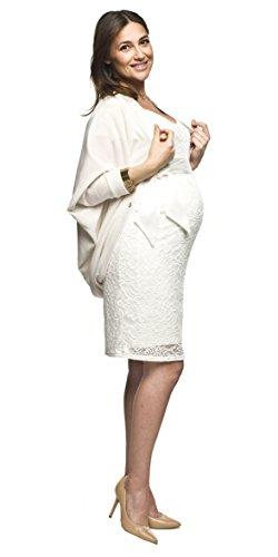 Elegantes und bequemes Umstandskleid, Brautkleid, Hochzeitskleid für Schwangere Modell: Lace, weiss/creme - 5