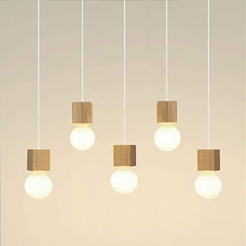 LIGHTESS Hängelampe Holz 5-flammig, Pendelleuchte Esstisch Höhenverstellbar, Esstisch Lampen, Pendellampe Holz für Esszimmer Küche Restaurant