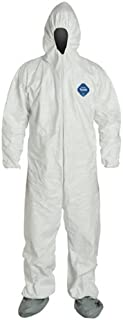 DuPont TY122S-XL-EACH Disposable Elastic Wrist, Bootie and Hood Tyvek Coverall Suit 1414, X-Large, White