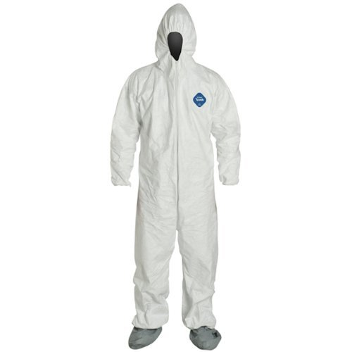 Serged seams, attached hood, front zipper closure, elastic wrists and attached boots Inherent barrier protection against dry particulate hazards Applications range from agriculture to spray painting to lead remediation Even after abrasions, stops mic...