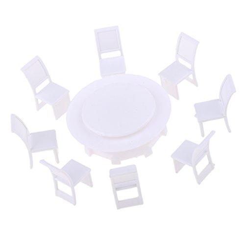 F Fityle 1: 100 Mobili in Miniatura Tavolo da Pranzo E 8 Sedie Set Paesaggistica