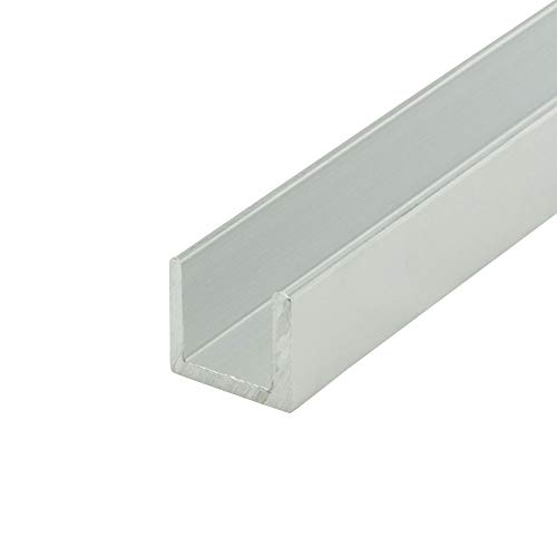 """Outwater Alu847-M Mill Finish 1/2"""" Inside Dimension Aluminum U-Channel/C-Channel 36 Inch Lengths (Pack of 4)"""