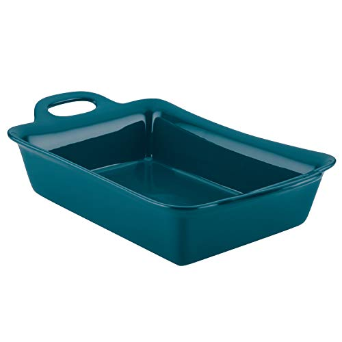 Rachael Ray Solid Glaze Ceramics Bakeware / Lasagna Pan / Baker, Rectangle - 9 Inch x 13 Inch, Teal