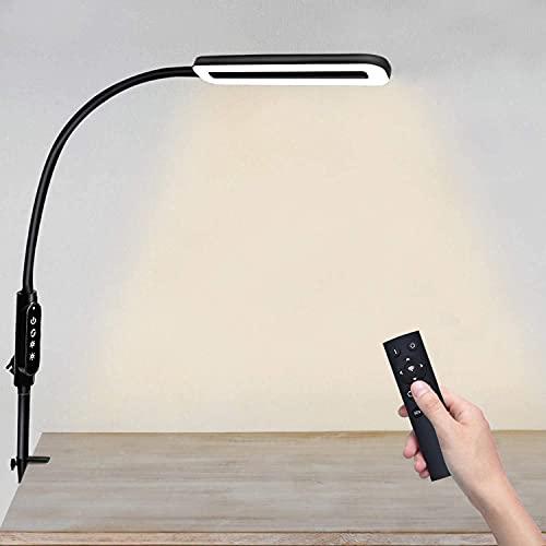 DIRIGIÓ Lámpara de escritorio con la abrazadera 12W Control remoto de la lámpara de cuello de cisne de la lámpara de 10 niveles Temperatura de color de la temperatura del color Moderno Modern Swing Br