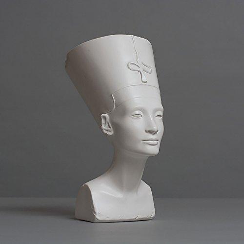 Nofretete Skulptur aus hochwertigem Zellan, echte Handarbeit Made in Germany, Büste in weiß, 18cm