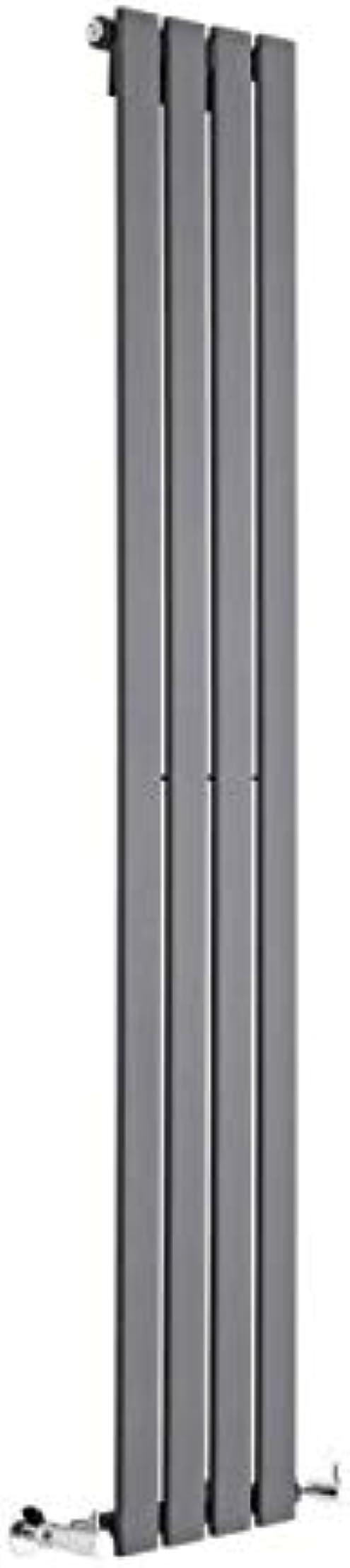 Termosifone con finitura in antracite - pannelli piatti - 1600 x 280mm - 586 watt riscaldamento ad acqua calda DE1600280VAS