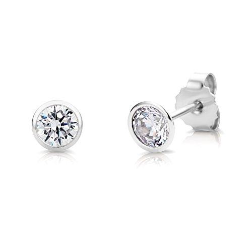 Miore Pendientes de botón plata de ley para Mujer, 925 rodiada con circonitas de 5.50 mm, de corte redondo blanco