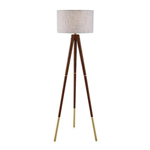 Sol Lampe LED Nordic Creative en bois massif trépied vertical Lampe de table Salon Chambre Canapé d'angle en bois couleur cerisier chaleureux (niveau d'énergie:A+)A+(Taille:43*56*155cm) para dormitori