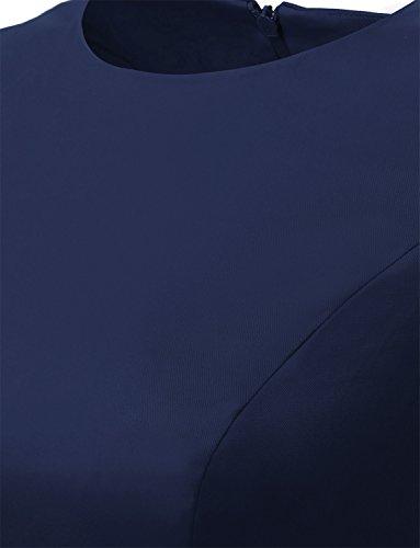Dressystar Damen Vintage 50er Cap Sleeves Dot Einfarbig Rockabilly Swing Kleider M Marineblau - 7