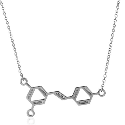 Collar Mujer Collar Collar 1 Pieza Nuevo Vino Colgante de Molécula Química Collar Regalo para Mujeres Ciencia resveratrol Oro Plateado Joyas para Mujeres Regalo para Mujeres Hombres Regalos