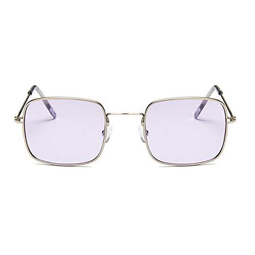 NXMRN Gafas De Sol Gafas De Sol Cuadradas Transparentes Retro Mujer Hombre Gafas De Sol Para Mujer Gafas De Sol Pequeñas De Hip Hop-Platavioleta