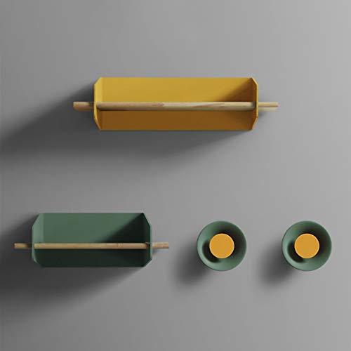 AI XIN SHOP Wandmontage Smeedijzeren plank Met 2 Haken Combinatie, Opslagrek Wandplanken Met Haak Combinatie Wanddecoratie