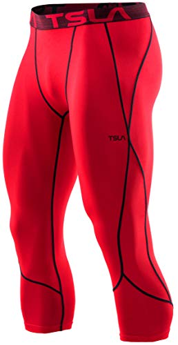 TSLA Men's 3/4 Compression Pants, Running Workout Tights, Cool Dry Capri Athletic Leggings, Yoga Gym Base Layer, Unique(muc38) - Red, Small