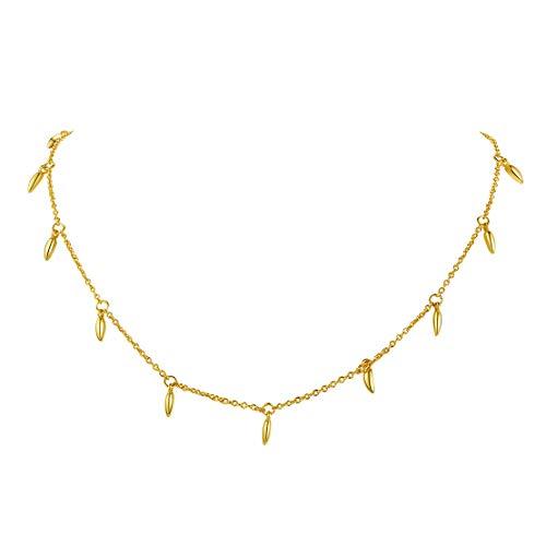 FindChic 小さな葉っぱ ネックレス チョーカー レディース 揺れる 18金 ゴールド 真鍮 極細 おしゃれ 大人可愛い 女性 プレゼント アクセサリー
