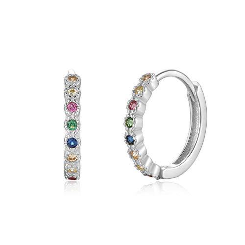 Qings Creolen Silber 925 Klein Weißgold Ohrringe Bunte Zirconia Earrings Mehrfarbig Huggie Hoops Creolen Mädchen