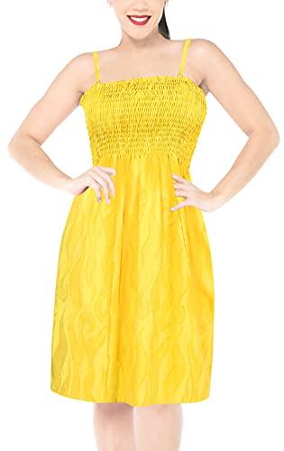 abito donna giallo LA LEELA Beachwear Abito Corto Tubo Morbido Costumi da Bagno Insabbiamento Cinturino Leggero al Ginocchio delle Donne Elastico Giallo