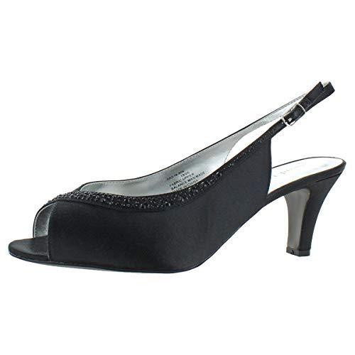 David Tate Women's Dainty Satin Crystal Heeled Slingback Sandals Black Size 8.5
