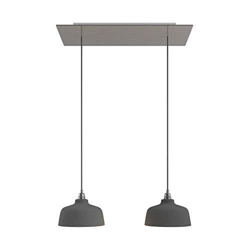Lámpara Colgante de 2 caídas con Rose-One XXL Rectangular de 675 mm con Cable Textil y Pantalla Coppa - Acero Satinado, con Bombilla