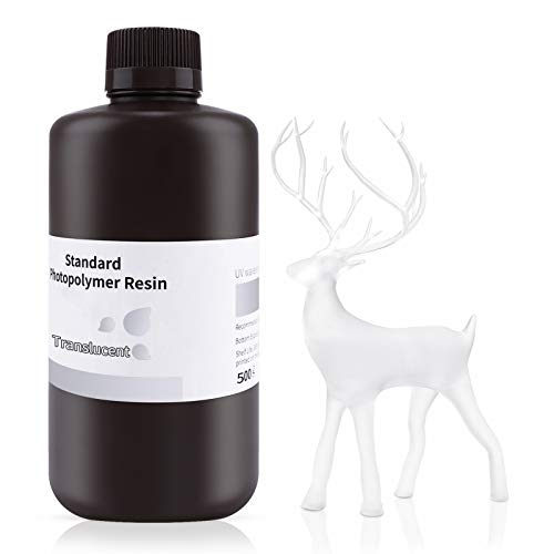 ELEGOO 3D Drucker LCD UV Resin, 405nm Rapid Photopolymer Resin für LCD/DLP 3D Drucker Photopolymer Harz, 500g Transluzent