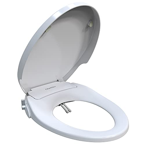 OlarHike Non-Electric Bidet Toilet Seat, Quiet-Close Lid and Seat with Adjustable Sprayer Control, Fresh Water Self Cleaning Dual Nozzle Bidet for Frontal and Rear Wash, Fits Elongated Toilets