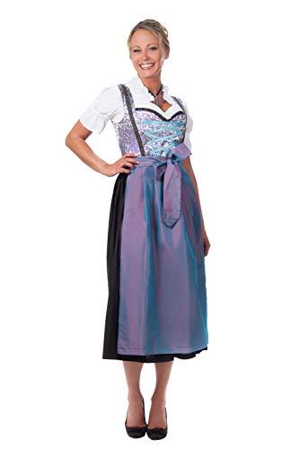 Edelnice Trachtenmode Midi Dirndl 3-teilig blau lila mit passender Bluse und Schürze Gr 34