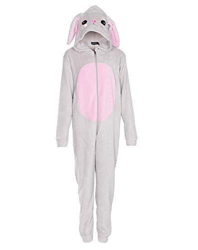 NOROZE Kinder Pyjama Combinaison Mädchen Damen Schlafanzüge Flausch Hase Regenbogen Einhorn Kapuze Alles in einem Mutter Tochter Passend Jumpsuit (11-12 Jahre, Hase Grau)