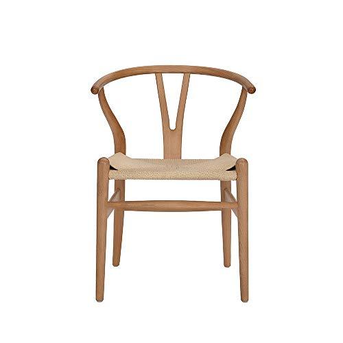 Wishbone - Sedia in legno massiccio, sedia con braccioli, in colore rattan naturale, con osso a forchetta, Y Chair
