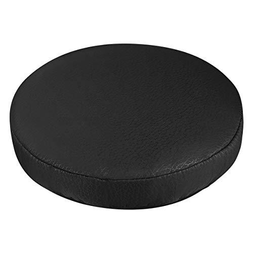VOSAREA Housse de Coussin de Siège Tabouret Élastique Épais Housse de Tabouret Pratique Protecteur de Chaise Rond Doux pour Magasin à Domicile - Noir (Diamètre 30 Cm)