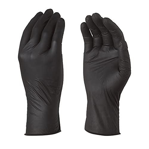 TouchGuard - Confezione di 100 guanti sensibili monouso in nitrile, nero, senza polvere, M