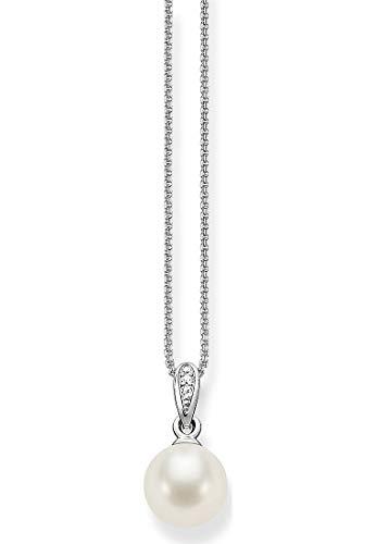 THOMAS SABO Damen-Kette mit Anhänger 925 Silber Perle weiß Ovalschliff Zirkonia 42 cm - SCKE150060