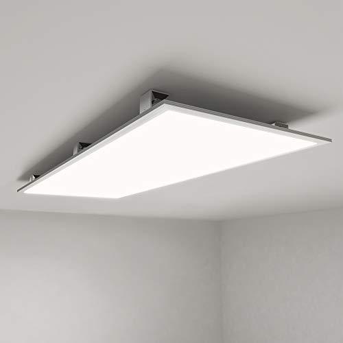 Allesin LED Panel Deckenlampe 120x60 Leuchten LED Deckenleuchte-Panel, Neutralweiß/72W/5000lm/4000K/Silberahmen Wandleuchte mit Trafo [Energieklasse A+]