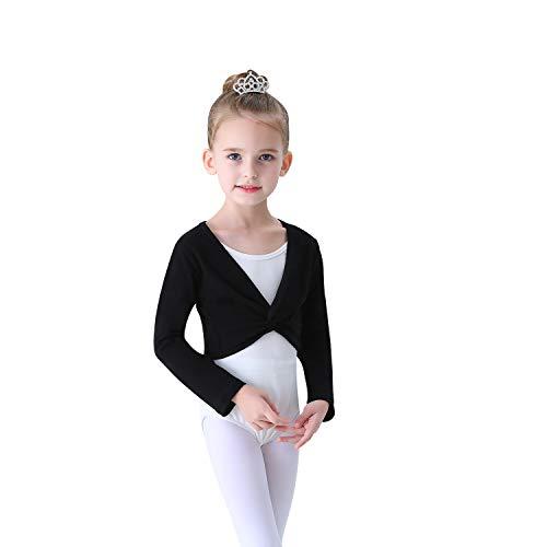 Soudittur Chaqueta de Ballet Cruzada Algodón Top Corto de Ballet Manga Larga para Niña Mujer en Negro, 125-135 cm