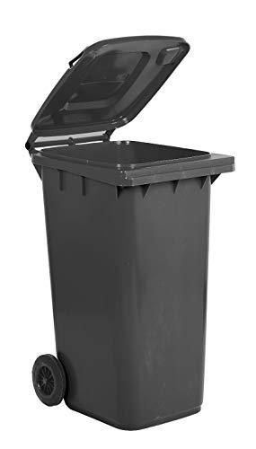 Bidone carrellato per la raccolta differenziata rifiuti Mobil Plastic 240 Lt per uso esterno - grigio (UNI EN 840)