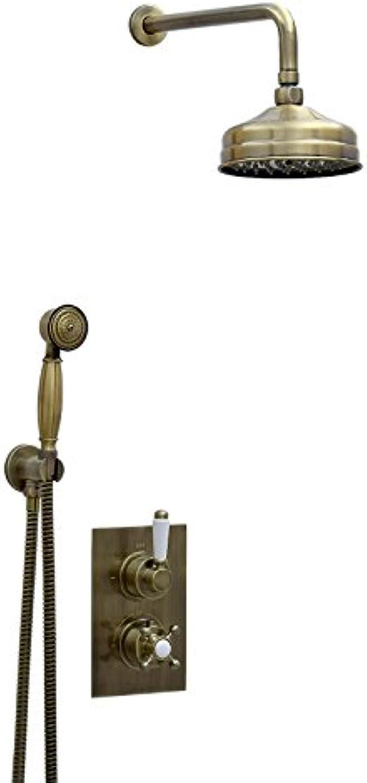 ENKI Unterputz-Duscharmatur Thermostat Kopfbrause 15cm Handbrause bronzefarbene